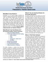 Builder, Developer, Architect Frequently Asked Questions about Energy Consulting